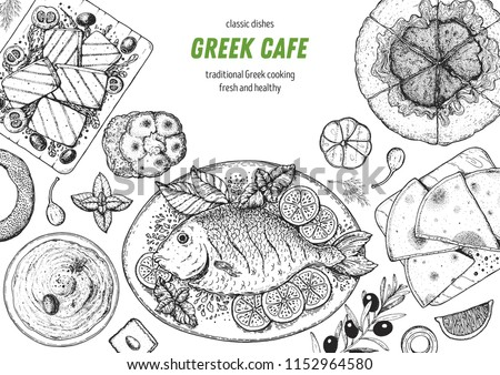 Greek cuisine top view frame. A set of greek dishes with halloumi, taramosalata, pita, spanakopita, gemista . Food menu design template. Vintage hand drawn sketch vector illustration. Engraved image