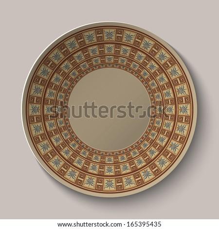 Greek dish with pattern. Vector illustration.