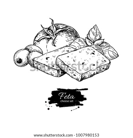 Greek feta cheese block slice drawing. Vector hand drawn food sketch with olive, basil, tomato. Greek salad ingredient. Farm market product for label, poster, icon.