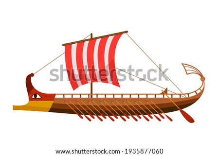 Greek galley with oars, Argonauts, Golden Fleece. ancient ship with a sail. vector illustration Stockfoto ©