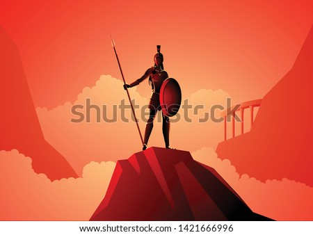 Greek god and goddess vector illustration series, Athena the goddess of wisdom, civilization, warfare, strength, strategy, female arts, crafts, justice and skill.