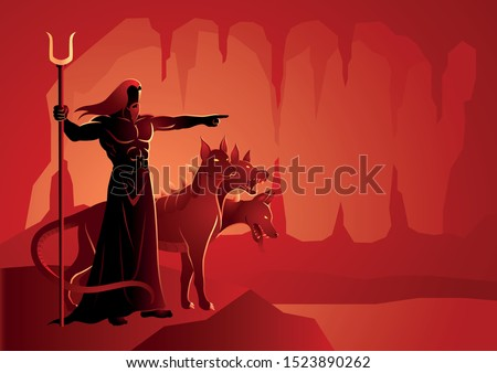 Greek god and goddess vector illustration series, Hades, the god of the dead and the king of the underworld