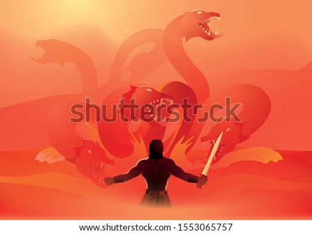 Greek god and goddess vector illustration series, Heracles or Hercules fighting the Lernaean Hydra or Hydra of Lerna, Second Labor of Heracles Foto stock ©