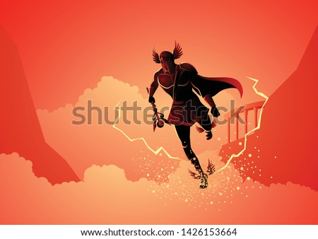 Greek god and goddess vector illustration series, Hermes, the emissary and messenger of the gods. Сток-фото ©