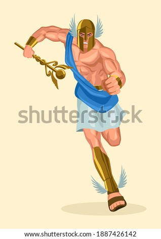 Greek god and goddess vector illustration series, Hermes, the emissary and messenger of the gods Сток-фото ©