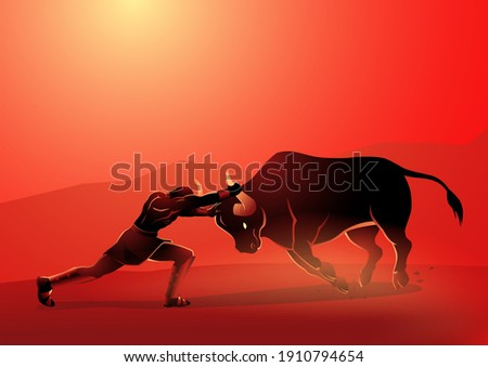 Greek god and goddess vector illustration series, seventh labour of Heracles' twelve labours, was to capture the Cretan Bull, father of the Minotaur