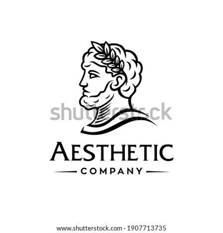 Greek god head wearing laurel wreath statue icon logo design Illustration vector in trendy minimal and simple line style.Ancient Greek Figure Face Head Statue Sculpture.