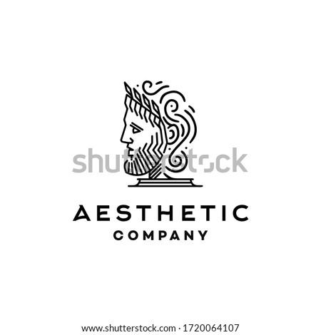 greek god icon logo, Ancient Greek Philosopher Figure Face Head wearing crown Statue Sculpture Logo design, Vector illustration of statue of Greek god, Apollo