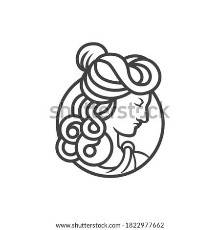 greek goddess female logo. goddess head vector logo vector illustration Photo stock ©