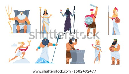 Greek gods. Cartoon ancient mythology characters, vector Zeus Ares a Poseidon gods and goddess isolated on white background. Cartoon image history character Greek culture collection