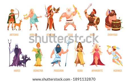 Greek gods pantheon. Mythological olympian gods, ancient Greece religion women and men characters with names collection, traditional elements personifications. Cartoon flat style vector isolated set