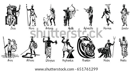 Greek Gods Vector Illustration Isolated On Transparent Background With Captions Aphrodite Apollo Ares
