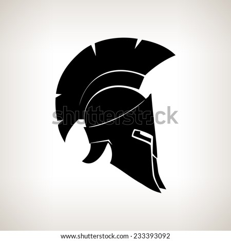 Greek Helmet, Antiques Roman  helmet for head protection soldiers with a crest of feathers or horsehair with slits for the eyes and mouth, vector illustration