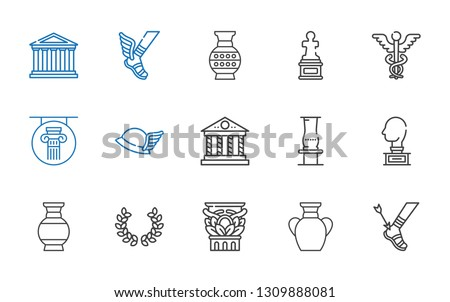 greek icons set. Collection of greek with achilles, vase, column, laurel, sculpture, parthenon, hermes, caduceus. Editable and scalable greek icons.