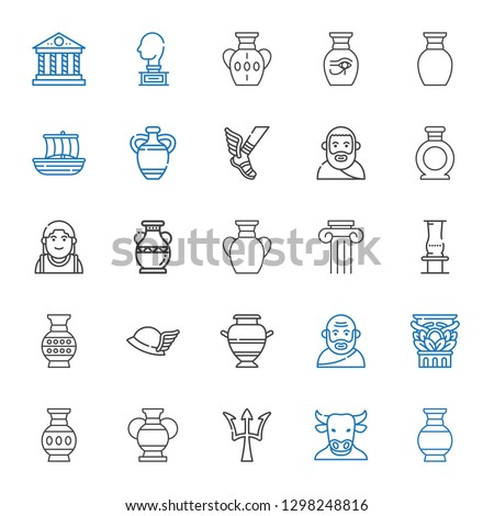 greek icons set. Collection of greek with vase, minotaur, poseidon, column, socrates, hermes, alexander the great, plato, trireme, sculpture. Editable and scalable greek icons.