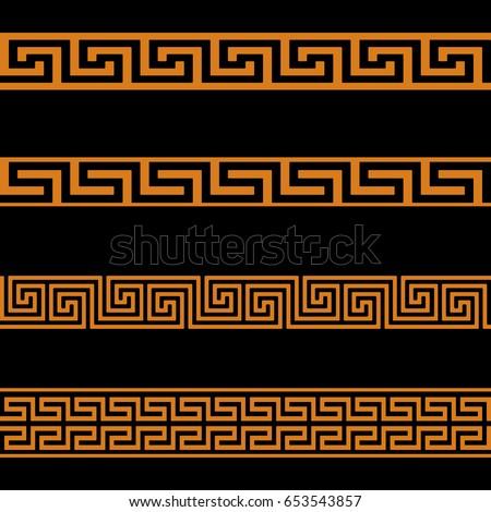 Greek Key Seamless Border Patterns Black. Vector.