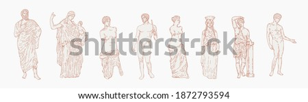 Greek marble statues aesthetic vector hand drawn illustration set. sculptures of human body and architectural elements. greek gods and mythology, ancient greece graphic design elements.
