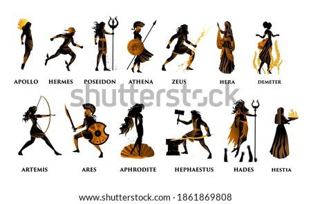 greek mythology orange and black figures olympus gods