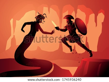 Greek mythology vector illustration of Perseus fighting Gorgon Medusa. Perseus is the legendary founder of Mycenae and of the Perseid dynasty