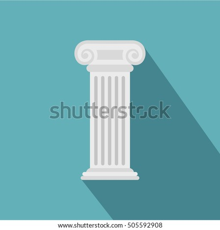 Greek or roman column icon. Flat illustration of greek column vector icon for web. Roman pillar
