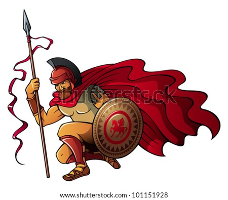 Greek or Spartan warrior holding spear and shield, vector illustration