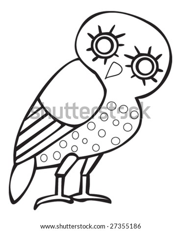 stock vector Greek owl sign symbol for tattoo or artwork vector
