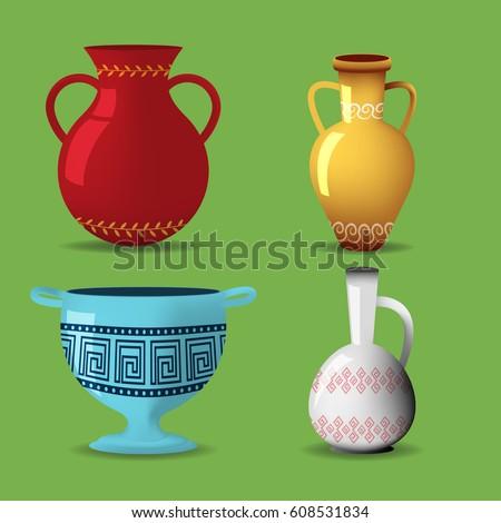 Greek Pot Object Isolate Set Vector