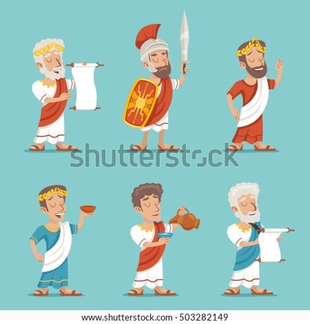 Greek Roman Retro Vintage Character Icon Cartoon Design Vector Illustration Foto stock ©
