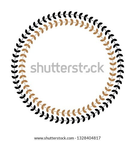 Greek round frame with olive tree leaves. Typical egyptian, assyrian and greek motives circle border. Arabic geometric texture. Islamic Art. Abstract geometric. Vector and illustration.