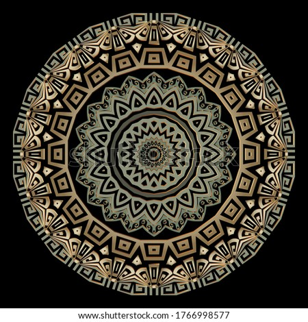 Greek round vector mandala pattern. Abstract tribal ethnic style floral background. Colorful geometric backdrop.  Greek frames, lines, mazes, shapes, zig zag, flowers. Greek key meanders ornaments.