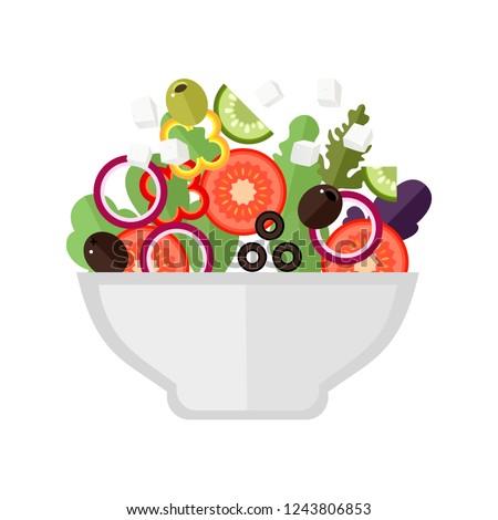 Greek salad. flat Vector illustration. Simple cartoon icon design food. Concept of healthy eating. Vector.