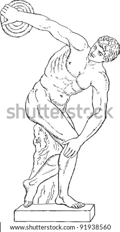 Greek sculpture - Discus thrower by Myron of Eleutherae / vintage illustration from Meyers Konversations-Lexikon 1897