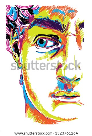 Greek sculpture young man. Greek statue Renewal, famous sculpture. Drawing markers, pop art. Stylish poster.  The famous sculpture by Michelangelo.