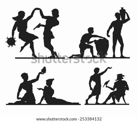 greek silhouettes dancing