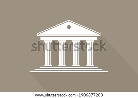 Greek temple. Icon of roman parthenon. Ancient building with columns. Greece architecture with pillar and acropolis. White logo of rome law, bank and pantheon. Antique symbol. Vector.