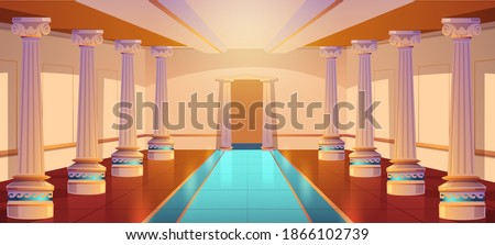 Greek temple, roman architecture, castle corridor with columns and arch entrance. Palace hall with pillars, ancient building design, empty ball room or theater interior. Cartoon vector illustration