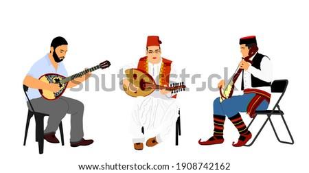 Greek, Turkish and Balkan folklore music trio. Bouzouki player and oriental Balgama, zurna with Serbian musician guslar on instrument gusle. Bosnia folk artists. Arab man play oud, lute or mandolin. Stock photo ©