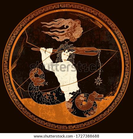 Greek vase painting concept. Medusa Gorgon. Meander circle style. Red figure techniques. Ancient Greece art. Mythology and legends