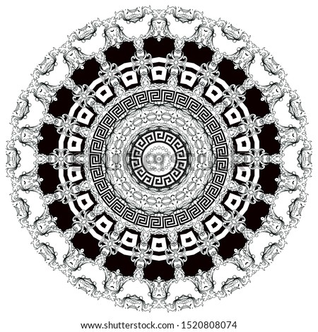 Greek vector black and white lace mandala pattern. Geometrical background with floral baroque and greek frames. Geometric shapes, circles. Vintage flowers, leaves. Greek key meanders ornament.