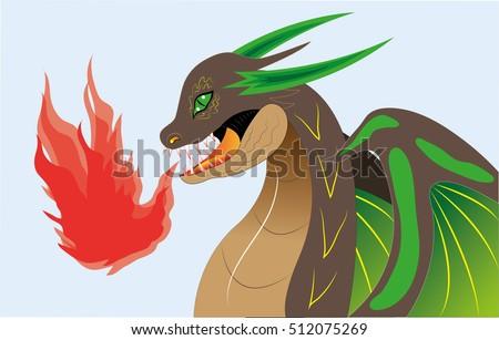 green a brown dragon breathes a