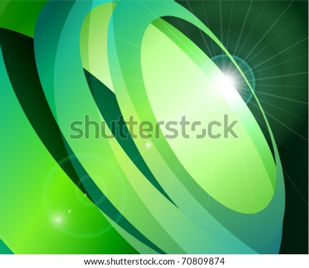 Green abstract background with flare and circles in motion