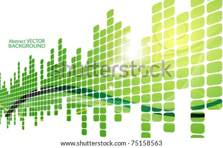 green abstract background with squares