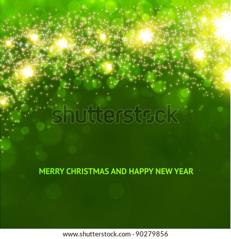 Green abstract Christmas background with white snowflakes