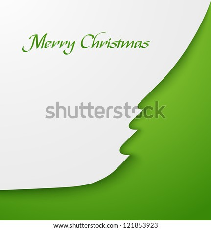 Green abstract christmas tree applique. Vector illustration