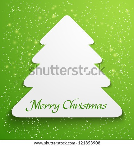 Green abstract christmas tree applique with snow particles. Vector illustration