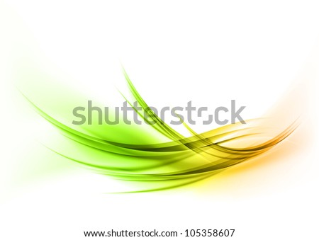 green abstract curves on the white background