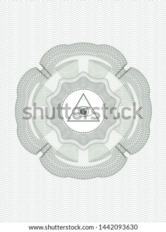 Green abstract linear rosette with illuminati pyramid icon inside