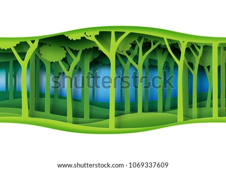 Green abstract nature forest with origami paper layer cut abstract nature background.Ecology and environment conservation concept design paper art style.Vector illustration.