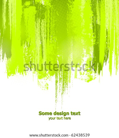 Green abstract paint splashes illustration. Vector background with place for your text.