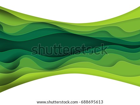 Green abstract paper carve background.Paper art style of nature concept design.Vector illustration.